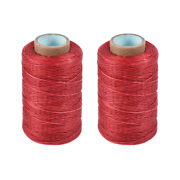 2pcs Leather Sewing Thread 273yards 150d/1mm Waxed Stitching Flat Cord Truered