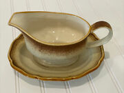 Mikasa Whole Wheat E8000 Gravy Boat And Saucer Under Plate Japan No Chips Cracks
