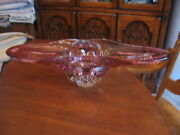 D25 Hand Blown Glass Vase Cranberry Pink Clear 20.5 In Long 7.5 In Wide