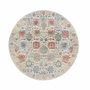 6and0391x6and0391 Silk With Textured Wool Hand Knotted Ivory Tebraz Round Rug R63240