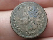 1870 Indian Head Cent Penny- Fine Details, Shallow N