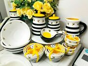 Terramoto Ceramic Bee Set Canister Pitcher Nesting Serving Dip Bowls Spoon Rest