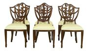L52661ec Set Of 6 Maitland Smith Carved Mahogany Shield Back Dining Room Chairs
