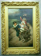 Antique Original Oil Painting 1800s Victorian Portrait Children Playing With Dog