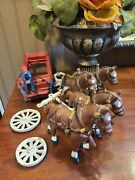 Vintage Vtg Budweiser Cast Iron Beer Wagon And Horses Great Decor Collectible