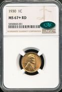 1930 Lincoln Cent Ngc Ms 67+ Rd / Cac Bright Red Top Pop 6/0