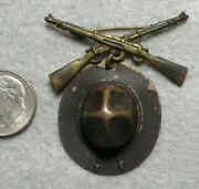 Spanish American Or Wwi Sweetheart Pin Campaign Hat And Crossed Rifles Medal