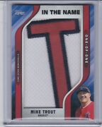 2021 Topps In The Name Logo Patch Jersey And039tand039 Game Worn Used Mike Trout 1/1