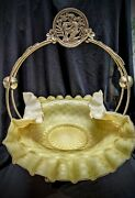 Huge 16 Tall Victorian Mother Of Pearl Satin Glass Silverplate Brides Basket