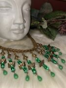 Miriam Haskell Huge Early Unsigned Green Glass Bib Necklace B1