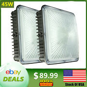 Led Canopy Light 45w For Warehouse Gas Station Carport Waterproof Lamps Us Ship