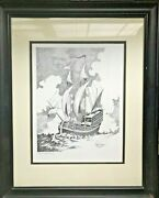 Gary Simmons 1976 - Original Sailing Ship In Ink And Pen Drawing Art Signed