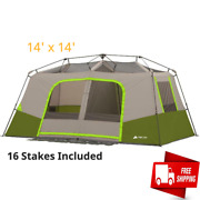 11 Person 3 Room Family Cabin Tent Outdoor Camping Front Awning Ez Setup Green