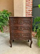 Antique French Carved Oak Commode Chest Of Drawers Table Louis Xv Nightstand