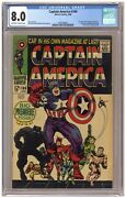 Captain America 100 Cgc 8.0 1st Issue Black Panther Kirby Marvel 1968 A480