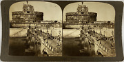 H. C. White Co. Italy, Rome, Bridge And Castle Of St. Angelo Vintage Stereo Car