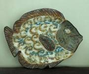 2003 Signed Richie Watts Good Earth Pottery Brown Olive Blue Glaze Fish Dish 15