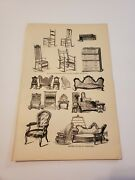 Antique And Modern Styles Of Furniture C. 1872 Engraving Print
