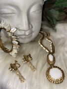 Miriam Haskell Ultra Rare Pearl Signed Clasp Necklace Bracelet And Earrings Set