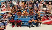 Wwf Action Figurine Lot Vintage Hasbro 21 Characters Ring And Accessories