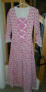 Colonial Dress Felicity Style Reenactment Pink Cotton Lace Trim Handmade