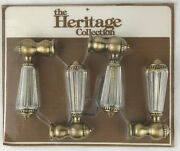 The Heritage Collection Brass Bathroom Faucet Handles Set 4 Clear Handle
