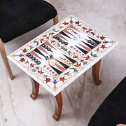 White Marble Top Backgammon Table Indoor Handmade Game With Wooden Stand Arts