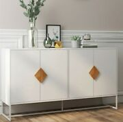 Modern 4 Doors Kitchen Buffet Cabinet Television Tables Storage Sideboard White