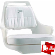 Wise Pilot Helm Chair Boat White Seat With Cushion Set Universal Mounting Plate