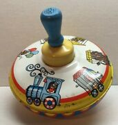 Vtg Ohio Art Circus Themed Tin Metal Spinning Top Train Animals Works Great A3