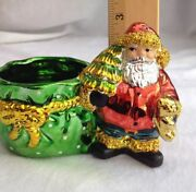 Santa Claus With Tree And Bag Of Goodies For Candies Christmas Decoration
