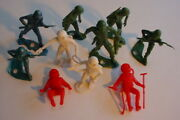 Vintage Marx Lot Mpc Space Astronaut Army Blue Green Plastic Figures Hole N Base