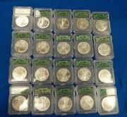 1986 - 2005-w Igc Ms69 20 Year Coinage Silver Eagle Set 20 Coins