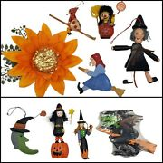 Vintage Witch Kitchen Witch Ornaments Halloween Toys Puzzle Goth 8pc Collection