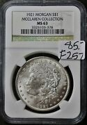 1921 Morgan Silver Dollar. Mcclaren Collection. In Ngc Holder. Ms 63. F257