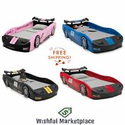 Children Turbo Race Car Durable Twin Toddler Car Bed Kid Bedroom Free Shipping