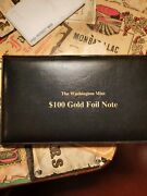 1999 100 22k Gold Foil Note 30 Sq Inches Of .999 Gold With Coa
