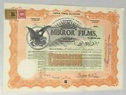 1915 Mirror Films 100 Shares Common Stock Certificate Clifford B. Harmon Pres.