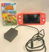 Nintendo Switch Lite Coral With Animal Crossing Game Card And Charging Cord