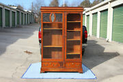 Fancy American Arts And Crafts Oak Bookcase With Pagoda Top Ca.1910