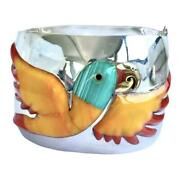 Taxco Mexican 925 Sterling Silver Bold Multicolor Parrot Bird Bracelet Mexico