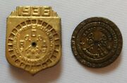 Pair Of Antique 1935 And 1936 Little Orphan Annie Decoders Pins/badge/pinbacks