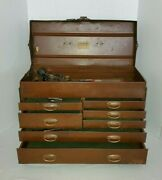 1920s Rare Early Kennedy Kits, Machinist Tool Box No. 520 W/d Ring Drawer Pulls