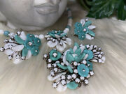 Miriam Haskell Rare Beauty Turquise Glass Huge Necklace, Earrings, Brooch Setb8