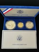 1986 Us Liberty Proof Coin Set 5 Gold, 1 Silver And 1/2 Dollar Clad