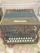 Antique 1800and039s Paolo Soprani Wooden Button Accordion Works
