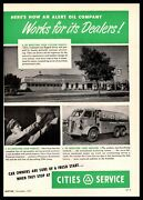 1950 Cities Service Gas Station Petroleum Delivery Truck Photos Vintage Print Ad