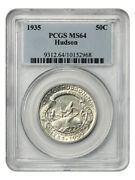 1935 Hudson 50c Pcgs Ms64 - Low Mintage Issue - Silver Classic Commemorative