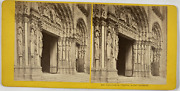 France Chartres Cathandeacutedrale Portail Occidental Vintage Stereo Card Tirage
