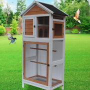 Wooden Large Bird Cage 47 Pet Play Covered House Ladder Feeder Stand Outdoor